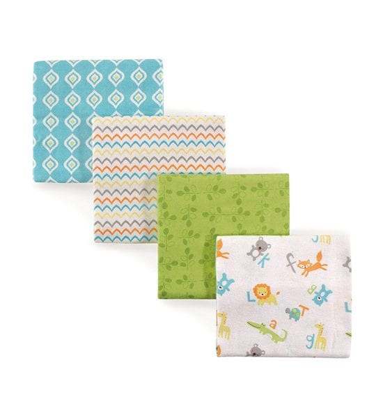 Luvable Friends 4 Piece Flannel Receiving Blanket