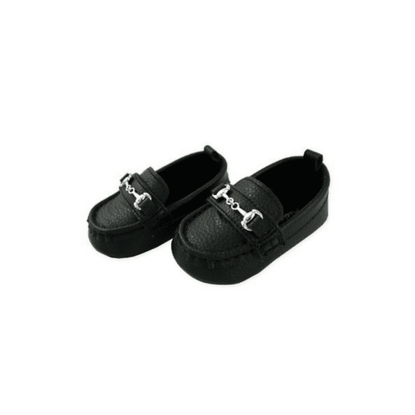 Baby Boys Loafers Black Leather Moccasin Shoe 6 9m 9 12m