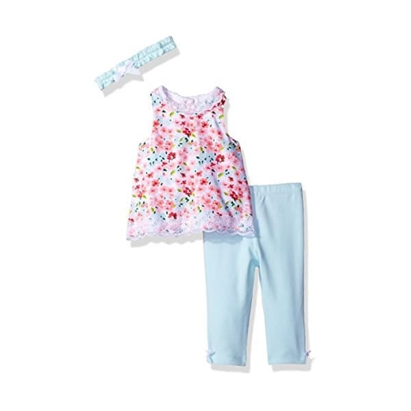 549602b08 Little Me Baby Girls' 3 Piece Woven Tunic Set with Headband, Floral – 3  Months