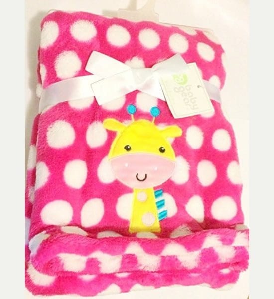 Baby Blanket Dark Pink Polka Dot with Giraffe