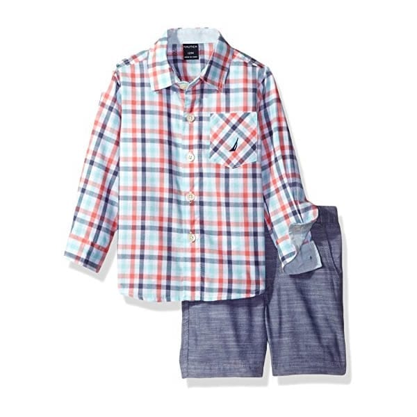 009554442 Nautica Baby Boys' Long Sleeve Button Down and Flat Front Short Set, Coral  – 12 Months