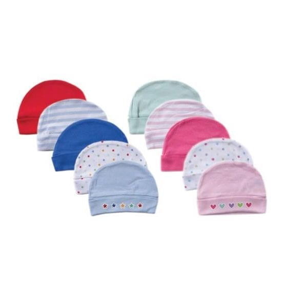 Luvable Friends 5 Pack Caps 100% Cotton SM 0-6M (Colour May Vary)