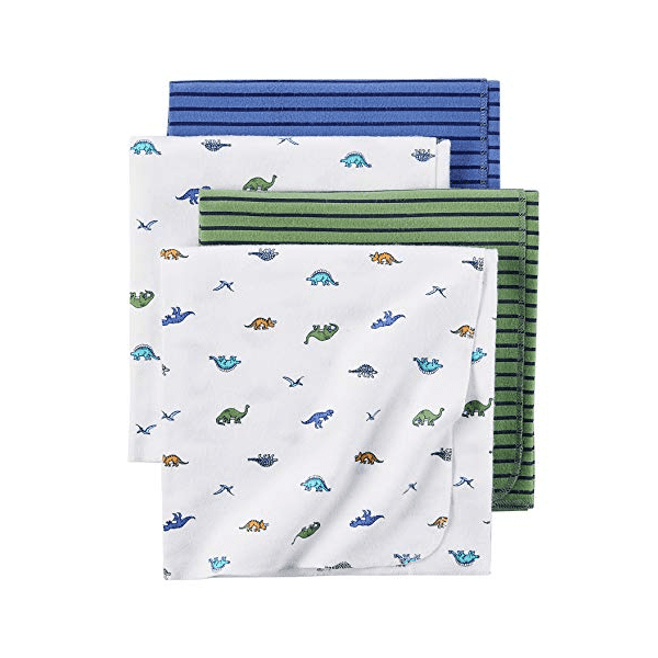 Carter's Baby Boy Girl 4 Pack Flannel Receiving Blanket Dinosoar 40x30