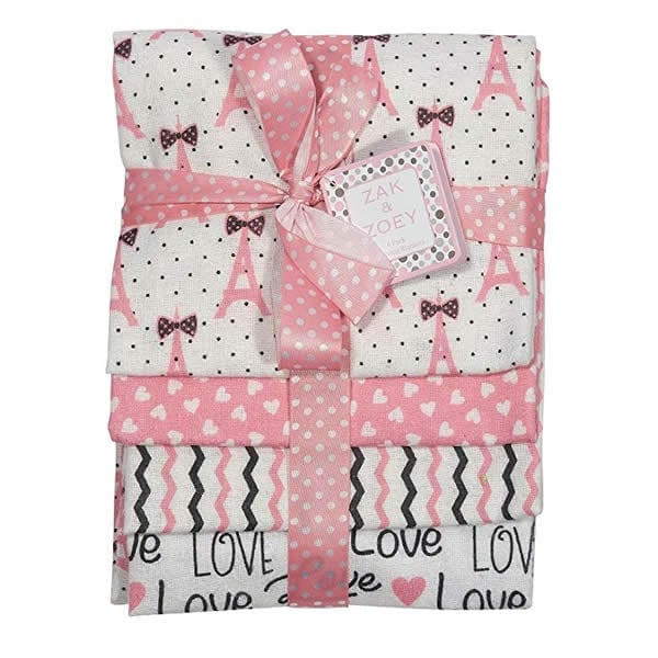 ak and Zoey 4-Pack Flannel Receiving Blankets Light Pink, White