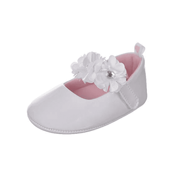 Stepping Stones Baby Girls White Shoe With Flower Sgd07105