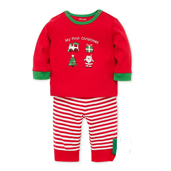 Little Me Baby Boys 2-Pc. Santa-Print T-Shirt, Striped Pants Set L569