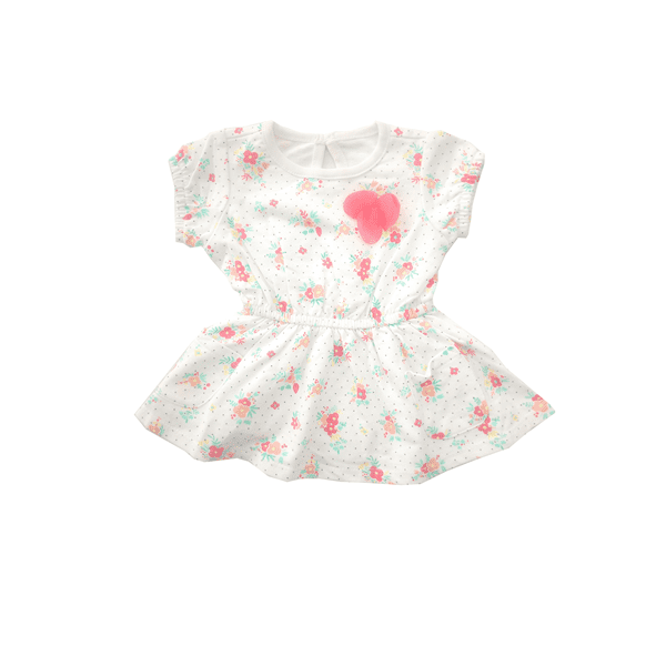 27a463f36 Cat & Jack Baby Girl Cream Floral Dress with Pink Rose | Babybliss