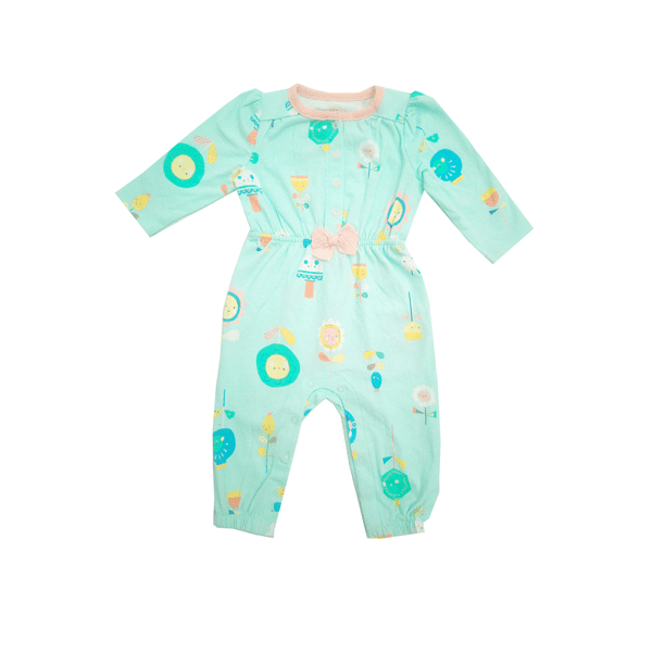 Cat & Jack Baby Girl jumpsuit Green with Peach Bow