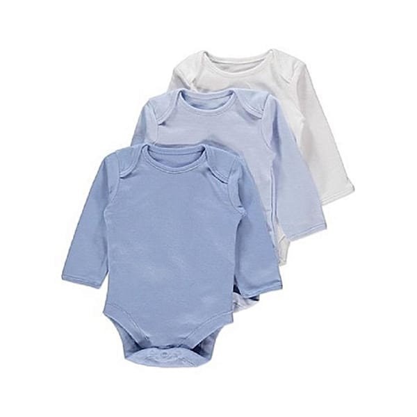 Uploaded ToGeorge Baby 3 Longsleeve Bodysuit Blue & Whit