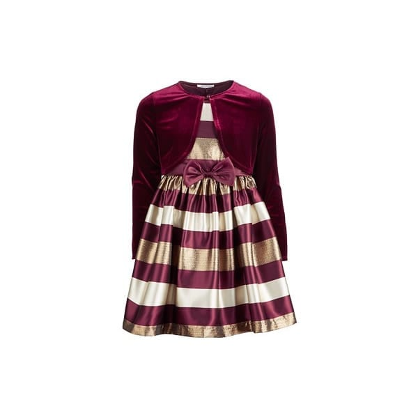 Bonnie Jean Plaid Cardi Dress Burgundy X27303