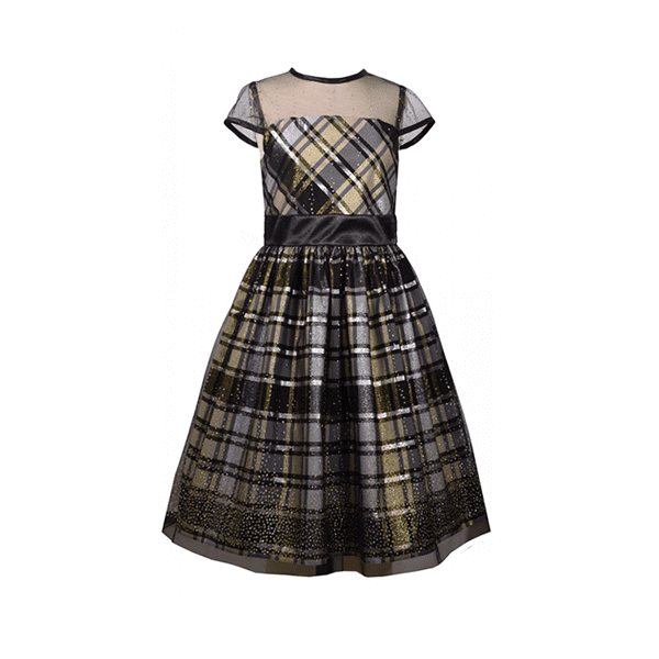 Bonnie Jean Glitter Plaid Illusion Dress, X32269-DS, Gold - 6