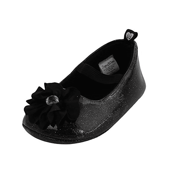 First Steps Baby Infant Girl Floral Shoe - Gliterring Black With Rose Flower TGD15150-1