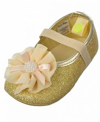 afc07cfa118 First Steps Baby Girl Shoes – Gold Flower With Beads TGD15149-1