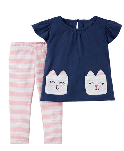 Carters 2Pc Cat top and leggings set 3M