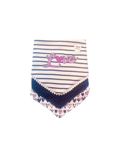 Daisy Fuentes 3 Pack Bibs - Pink/Love -0-6m