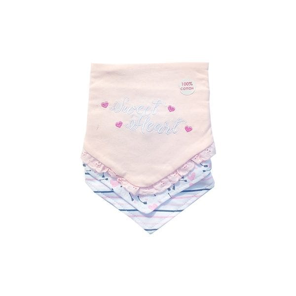 Daisy Fuentes 3 Pack Bibs - Pink/Sweet Heart -0-6m