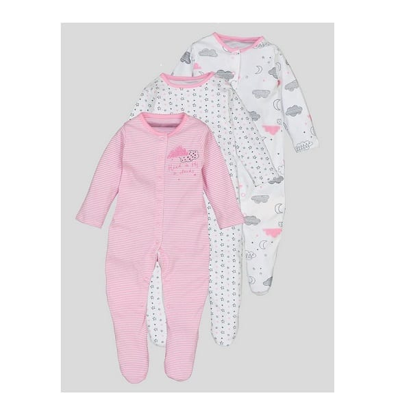 a20c75f20 TU Baby Pack of 3 Girl Sleepsuits - Head in the Clouds