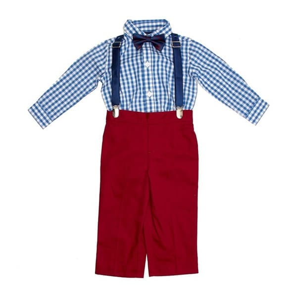 f614651df0a26 IZOD Baby Boys Check Bodysuit with Red Pants, Suspenders & Bow Tie ...